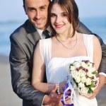 Romantic beach wedding at sunset — Stock Photo #5846326