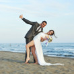 Romantic beach wedding at sunset — Stock Photo #5846454