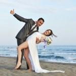 Romantic beach wedding at sunset — Stock Photo #5846499