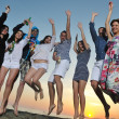 Group of young enjoy summer party at the beach — Stock Photo #5846865