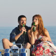Happy young couple have romantic time on beach — Stock Photo #5850268