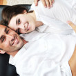 Happy young couple have fun in modern kitchen — Stock Photo #5859556