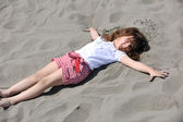 Little female child portrait on the beach — Stock Photo