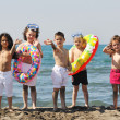 Child group have fun and play with beach toys — Stock Photo #5866811