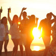 Group of young enjoy summer  party at the beach - Foto Stock
