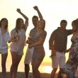 Group of young enjoy summer party at the beach — Stock Photo #5870061