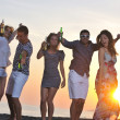 Group of young enjoy summer party at the beach — Stock Photo #5969600