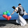 Romantic beach wedding at sunset — Foto Stock