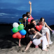 Happy young group have fun on beach — Stock Photo #6016340