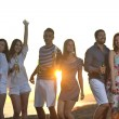 Happy young group have fun on beach — Stock Photo #6023446