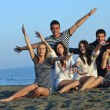 Happy young group have fun on beach — Stock Photo