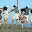 Happy young group have fun on beach — Stock Photo #6023834