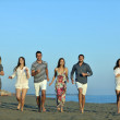 Happy young group have fun on beach — Stock Photo #6023918