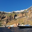 Santorini island coast with luxury yacht - Stock fotografie