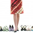 Pretty young woman with buying shoes addiction, isolated on whit — Stock Photo #6255816