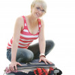 Stock Photo: Woman with travel bag