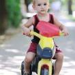 Children in park ride cycle at park — Stock Photo