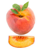 Peach with leaves — Stock Photo