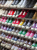 Lots of sneaker shoes on sale — Foto Stock