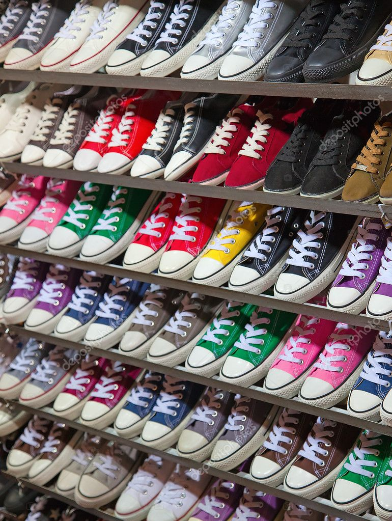 Lots of sneaker shoes on sale