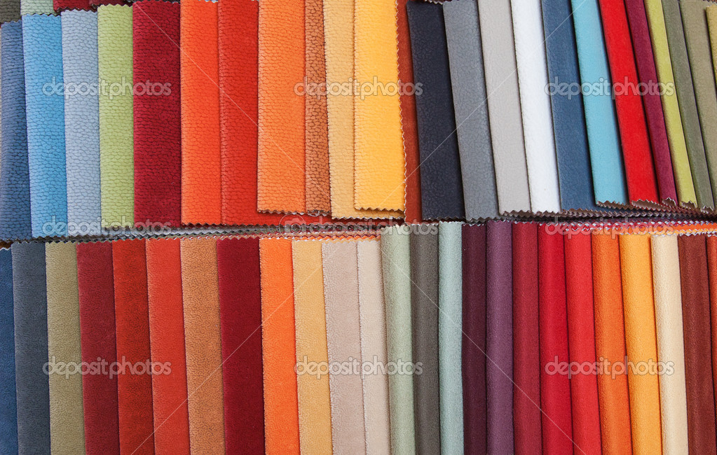 Colorful upholstery samples in the shop  Stock Photo #6122720