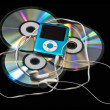 MP3 player over CDs — Stock Photo