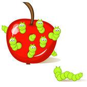 Wormy apple — Stock Vector