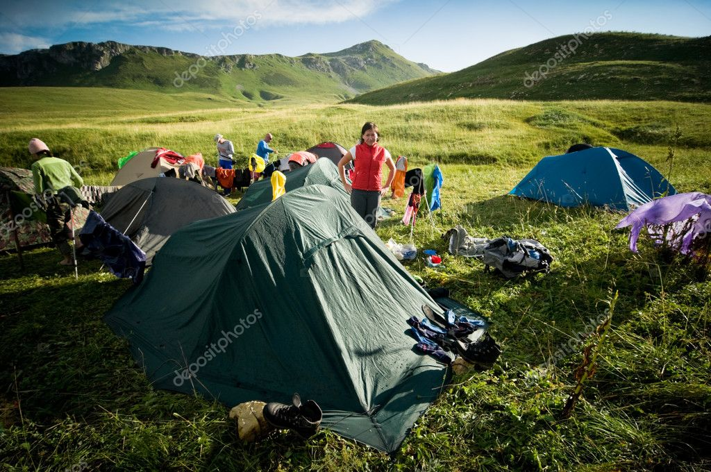 Group of camping near mountains  Stock Photo #5588501