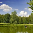 Green pond with boat — Stock Photo #6260277