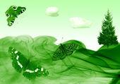 Grüne hintergründe mit schmetterlingen — Stockfoto