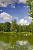 Green pond with boat — Stock Photo