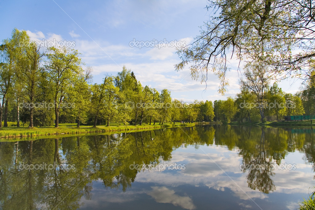 Landscape with blue sky, clouds, forest and lake — Stock Photo #6260307