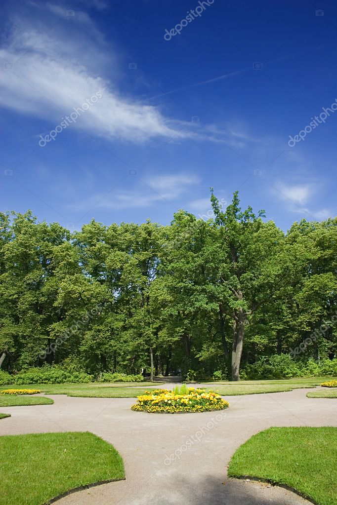 Green garden with trees and flower-bed — Stock Photo #6260391