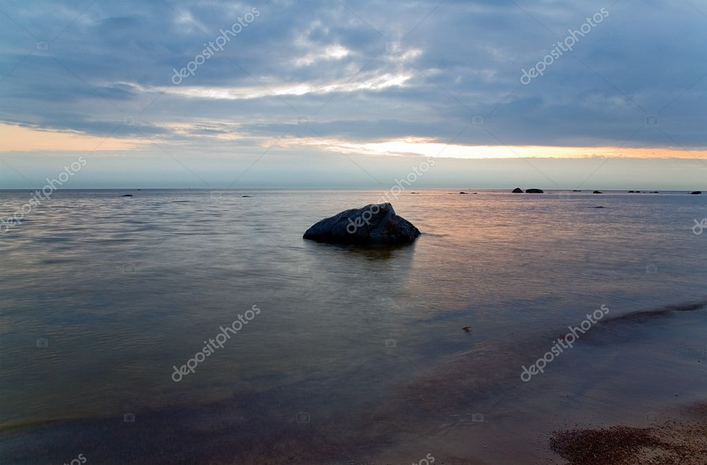 Summer landscape with sea sunset — Stock Photo #6260440