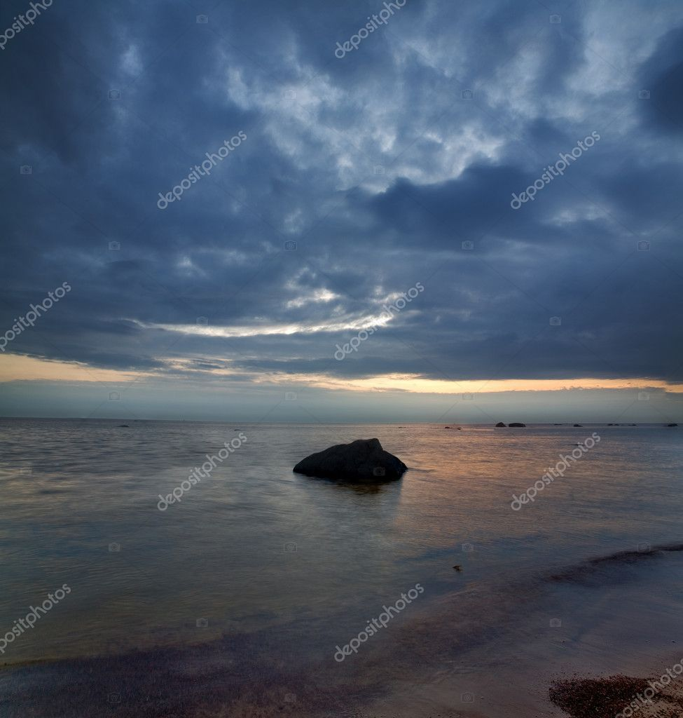 Summer landscape with sea sunset — Stock Photo #6260446