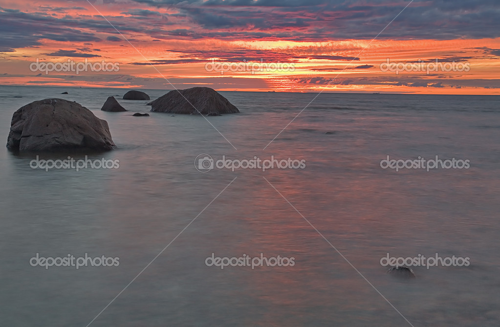 Summer landscape with sea sunset — Stock Photo #6260456