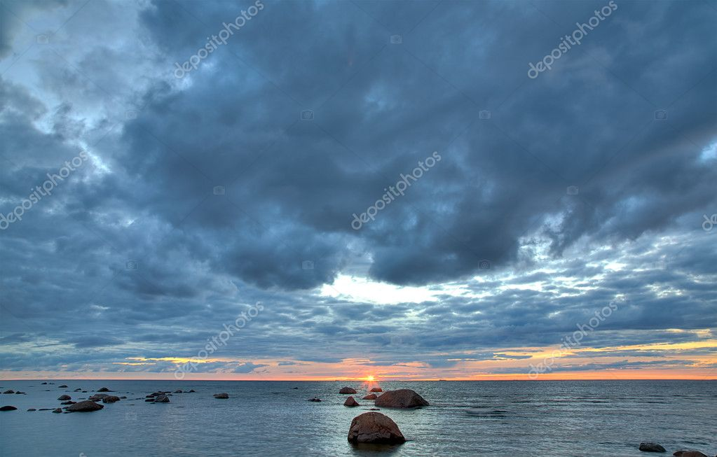 Summer landscape with sea sunset  Stock Photo #6260467