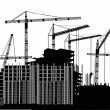 Royalty-Free Stock Vector Image: Nine cranes and building