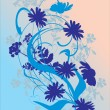 Royalty-Free Stock Vector Image: Blue flower silhouettes illustration