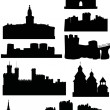 Set of castles and towers — Stock Vector