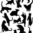 Sixteen cat silhouettes — Stock Vector #6260691