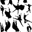 Stock Vector: Ballet dancer silhouettes