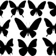 Ten butterfly silhouettes set — Stock Vector