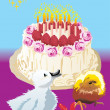 Royalty-Free Stock Vector Image: Cake, chicken and duckling