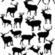Eighteen deer silhouettes — Stock Vector #6260796