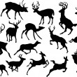 Running deer silhouettes — Stock Vector