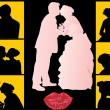 Wedding couples silhouettes — Stock Vector #6260902