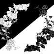 Royalty-Free Stock Vector Image: White and black flower silhouettes