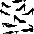 Woman shoe silhouettes set — Stock Vector