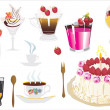 Cake and sweet cocktails — Stock Vector
